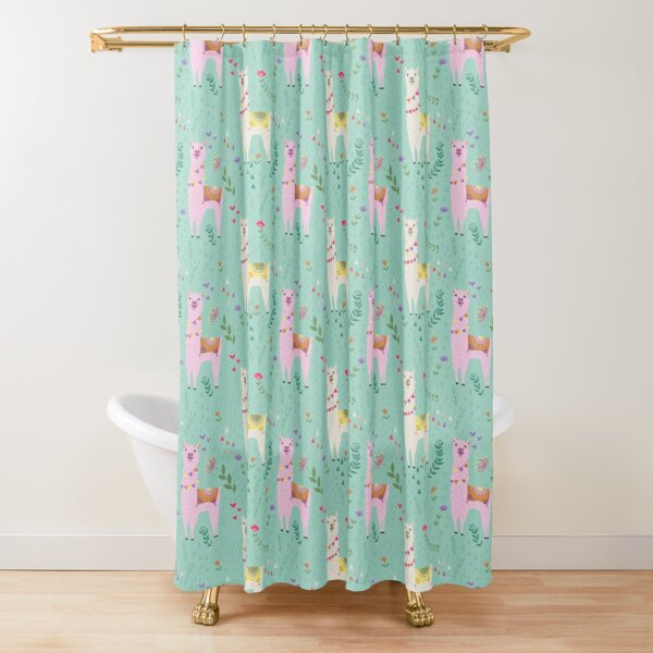 White and Pink Llama Pattern Shower Curtain