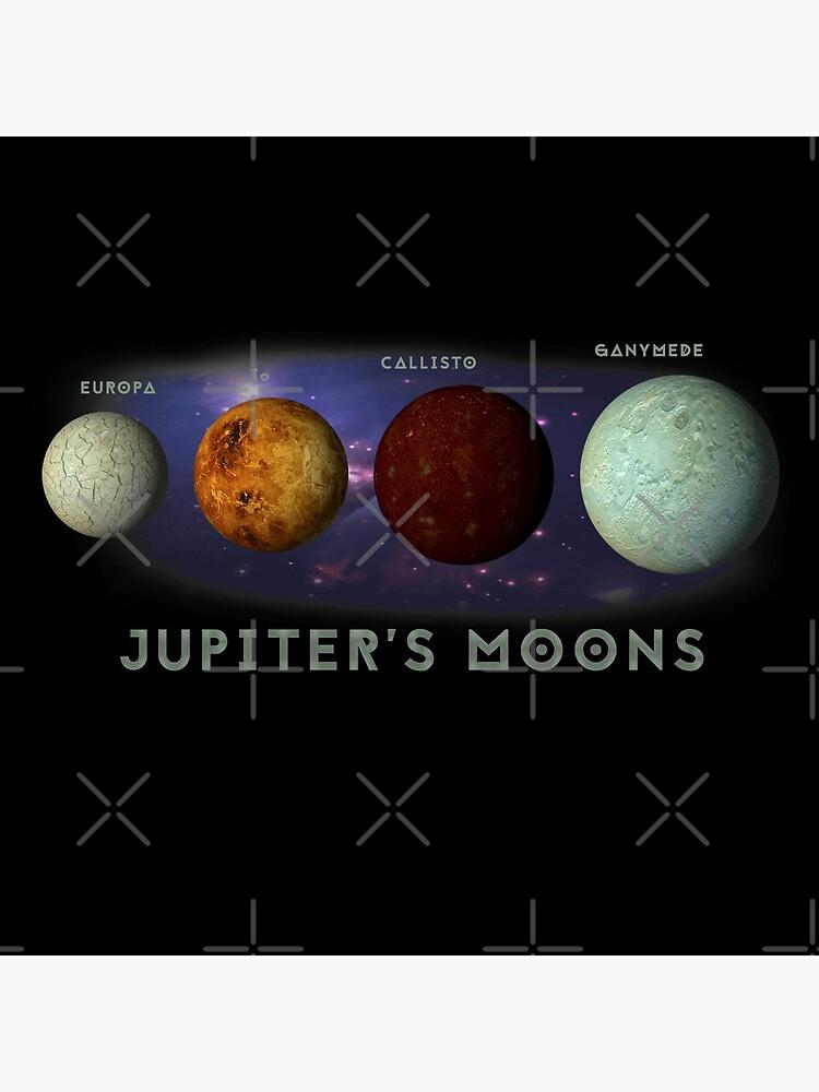 Jupiters Moons Europa Io Callisto Ganymede Space Nebula Graphic Print by thespottydogg
