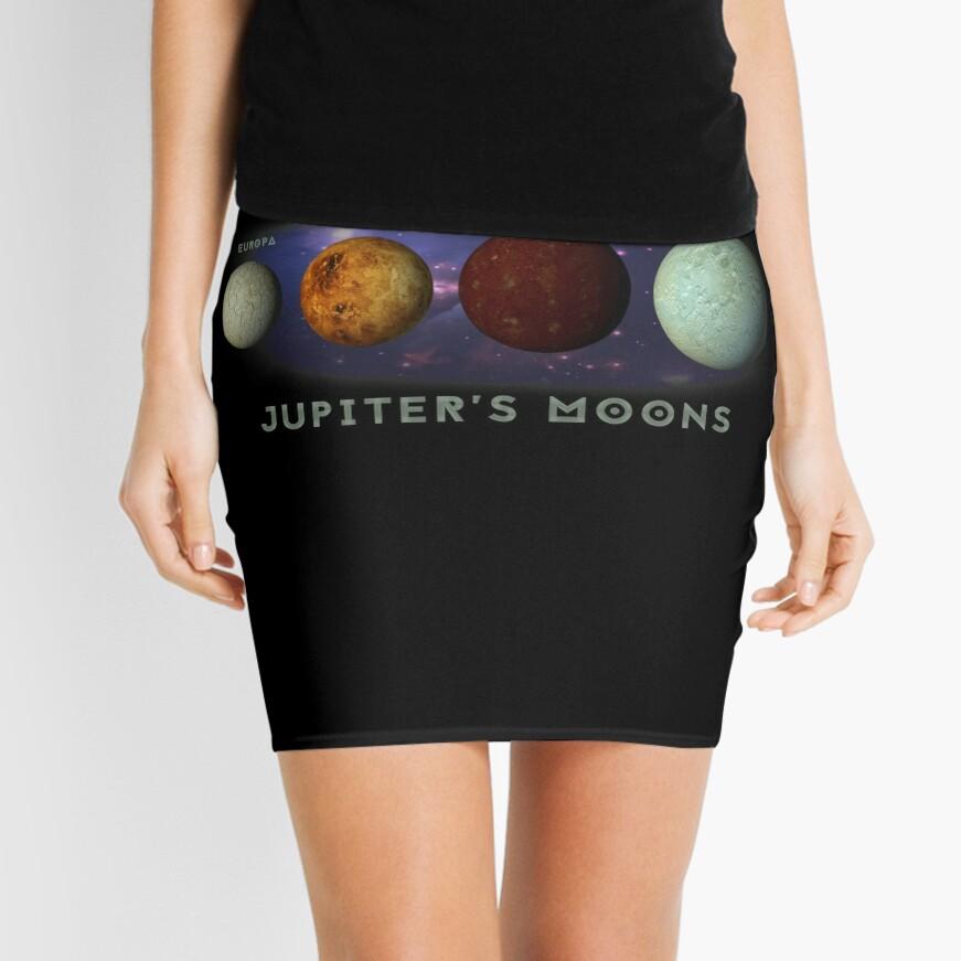 Jupiters Moons Europa Io Callisto Ganymede Space Nebula Graphic Print Mini Skirt