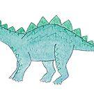Green Watercolor Stegosaurus by DreamOutLoudArt