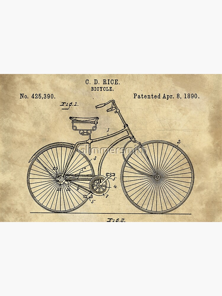 Antique Bicycle Blueprint patent drawing plan, Industrial farmhouse by Glimmersmith