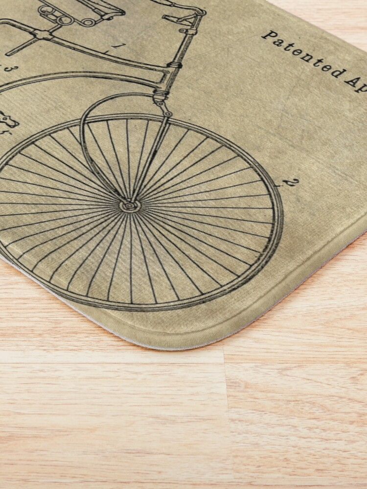 Alternate view of Antique Bicycle Blueprint patent drawing plan, Industrial farmhouse Bath Mat