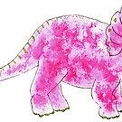 Pink  Watercolor Triceratops by DreamOutLoudArt