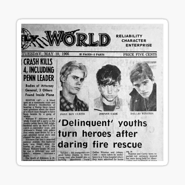 The Outsiders Newspaper Clipping Sticker