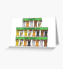 Cats celebrating December 3rd Birthday Greeting Card