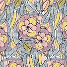 Pink and Peach Linework Floral Pattern by micklyn