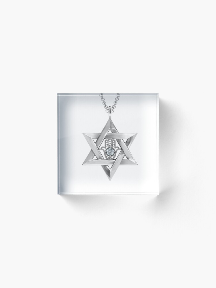 Alternate view of #Jewish #jewelry, #symbol, #design, crystal, gold, gift, sign, decoration, gemstone, shiny, precious gem, jew, jews Acrylic Block
