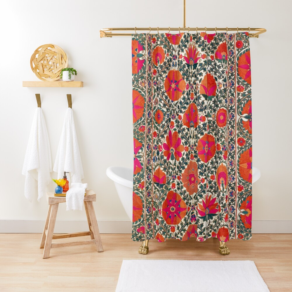 Kermina Suzani Uzbekistan Colorful Embroidery Print Shower Curtain
