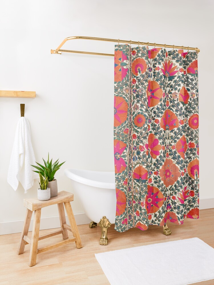Alternate view of  Kermina Suzani Uzbekistan Colorful Embroidery Print Shower Curtain