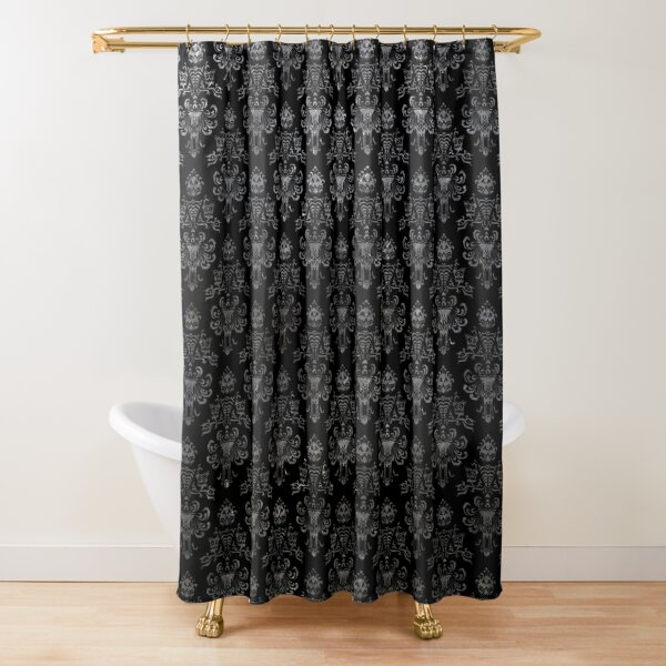 Haunted Mansion Wallpaper Black and Silver Shower Curtain