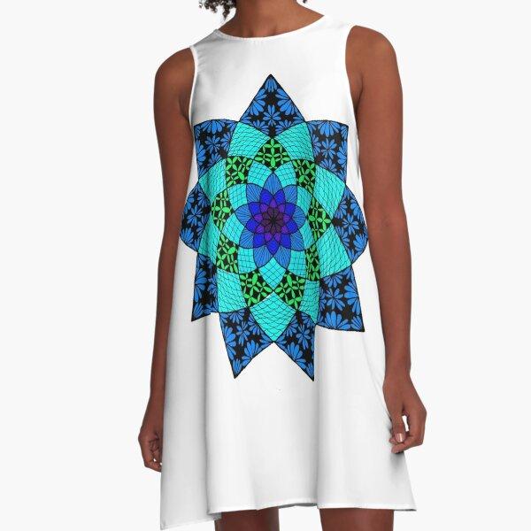 Zentangle Mandala in Cool Colors A-Line Dress