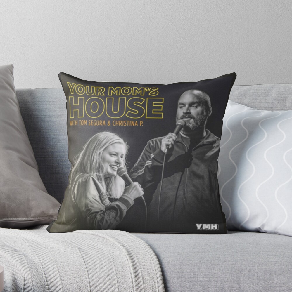 YOUR MOM'S HOUSE PODCAST - NEW YMH LOGO Throw Pillow