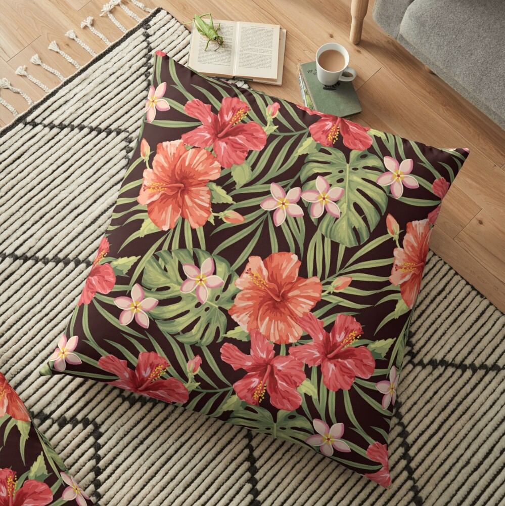 Painterly Hibiscus Floor Pillow
