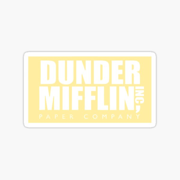dunder mifflin pastel yellow logo Sticker