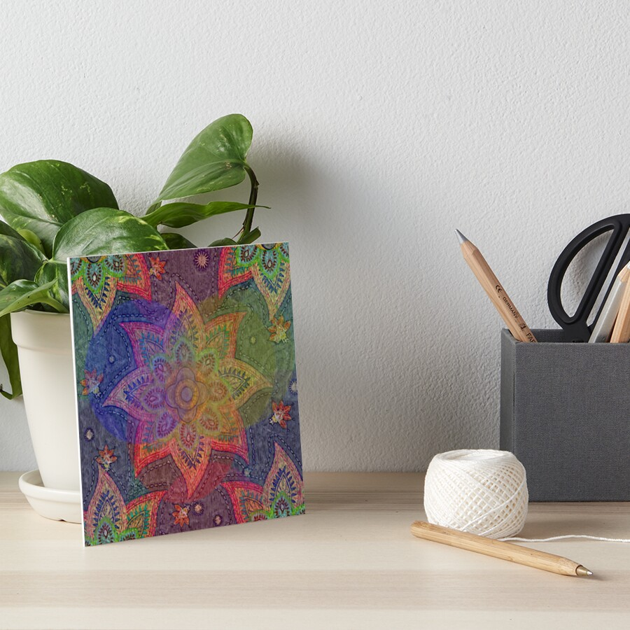 Rainbow Flower Power Bright Geometric Mandala Star Art Board Print