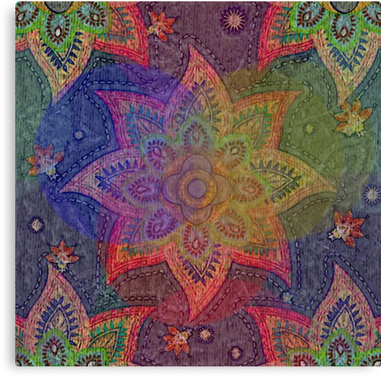 Colorful Rainbow Flower Power Bright Geometric Mandala Star Canvas Print