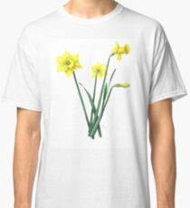 Yellow Daffodils Watercolor Botanical Illustration Classic T-Shirt