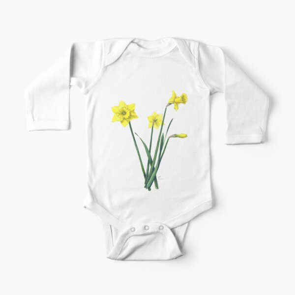 Yellow Daffodils Watercolor Botanical Illustration Long Sleeve Baby One-Piece