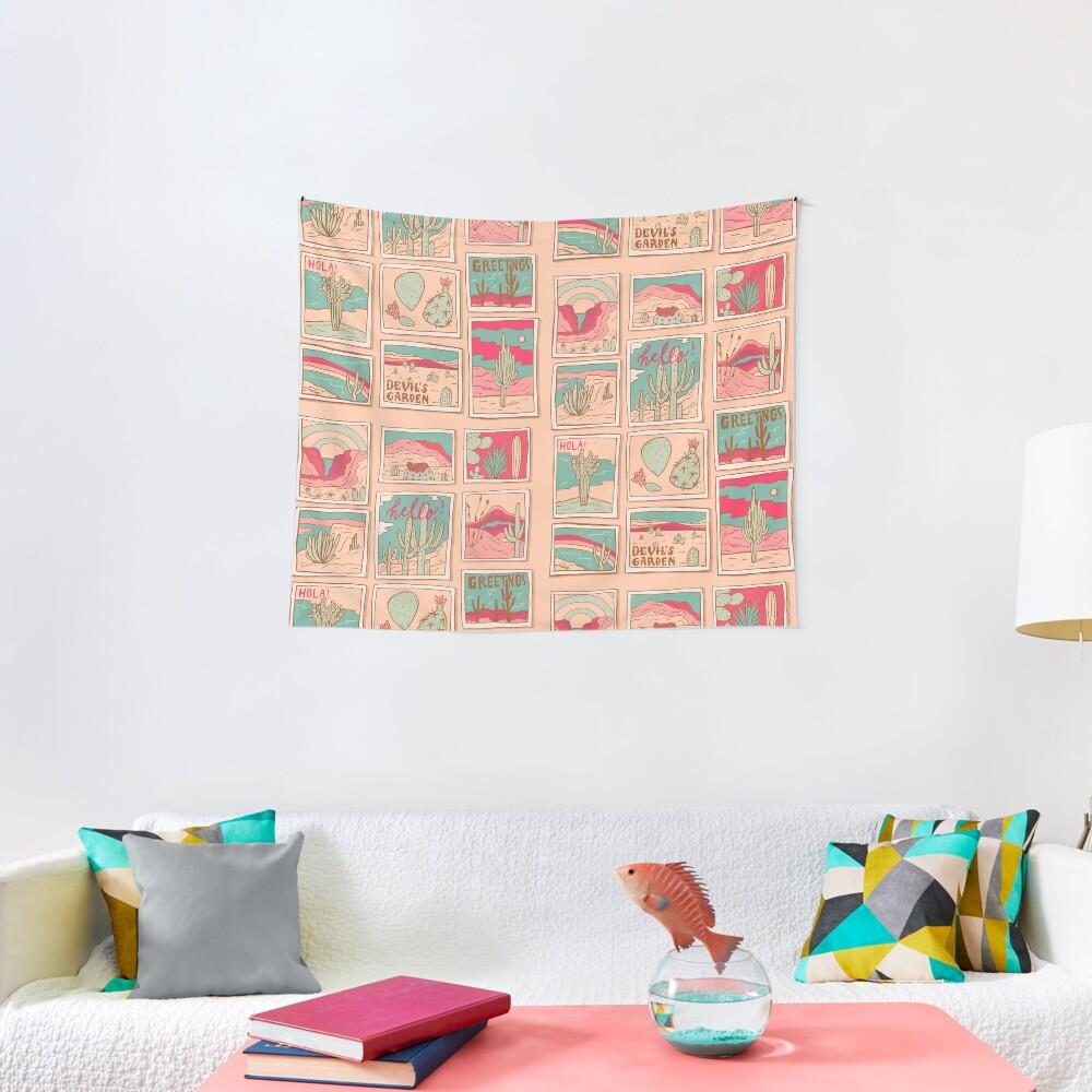 Retro Desert Postcards Tapestry