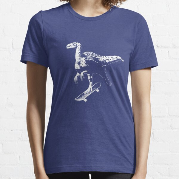 Dinosaur Skateboard (White) Essential T-Shirt