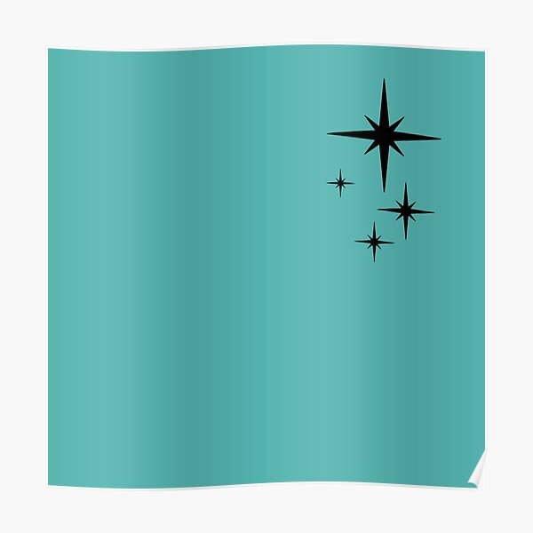 1950s Atomic Age Retro Starburst in Turquoise and Black Poster