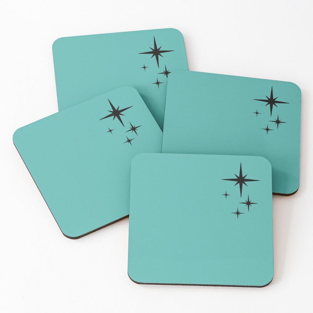 1950s Atomic Age Retro Starburst in Turquoise and Black Coasters (Set of 4)