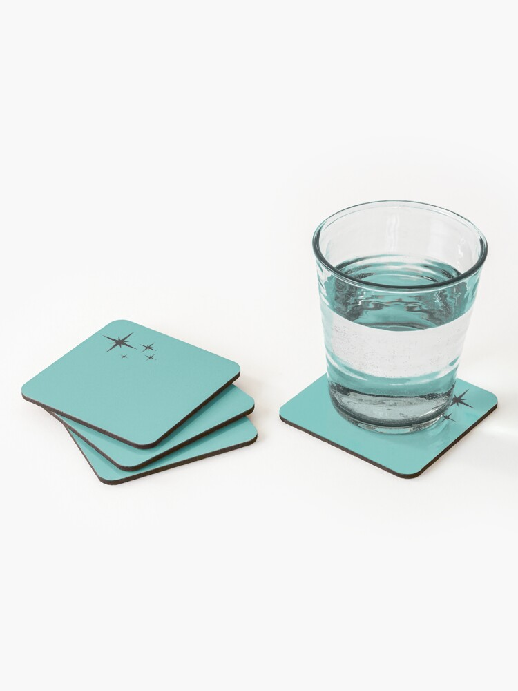 Alternate view of 1950s Atomic Age Retro Starburst in Turquoise and Black Coasters (Set of 4)