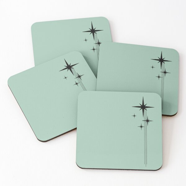 1950s Atomic Age Retro Starburst in Mint Green and Black Coasters (Set of 4)