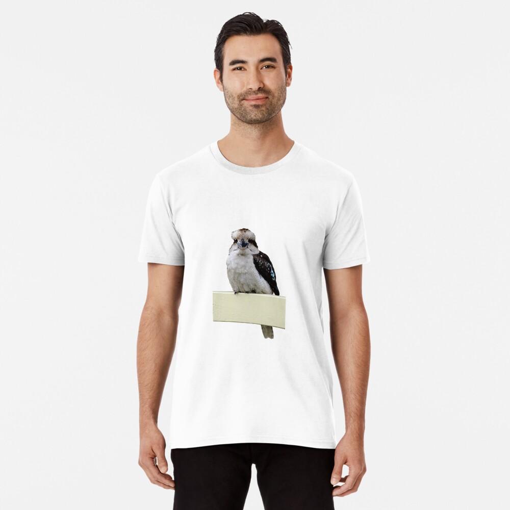 Kookaburra sitting on porch rail Premium T-Shirt