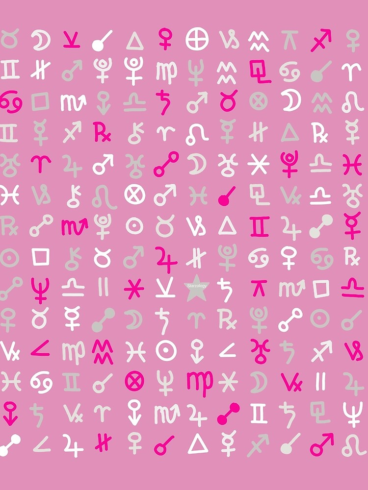 Astrology Symbols and Signs Pink Pattern by Starzology