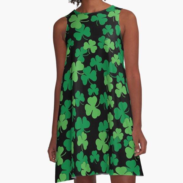 St. Patricks day clover pattern A-Line Dress