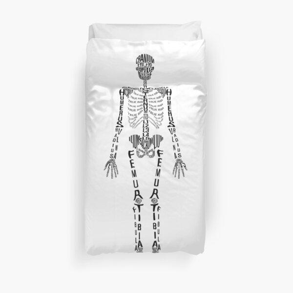 Typographical Skeleton Duvet Cover
