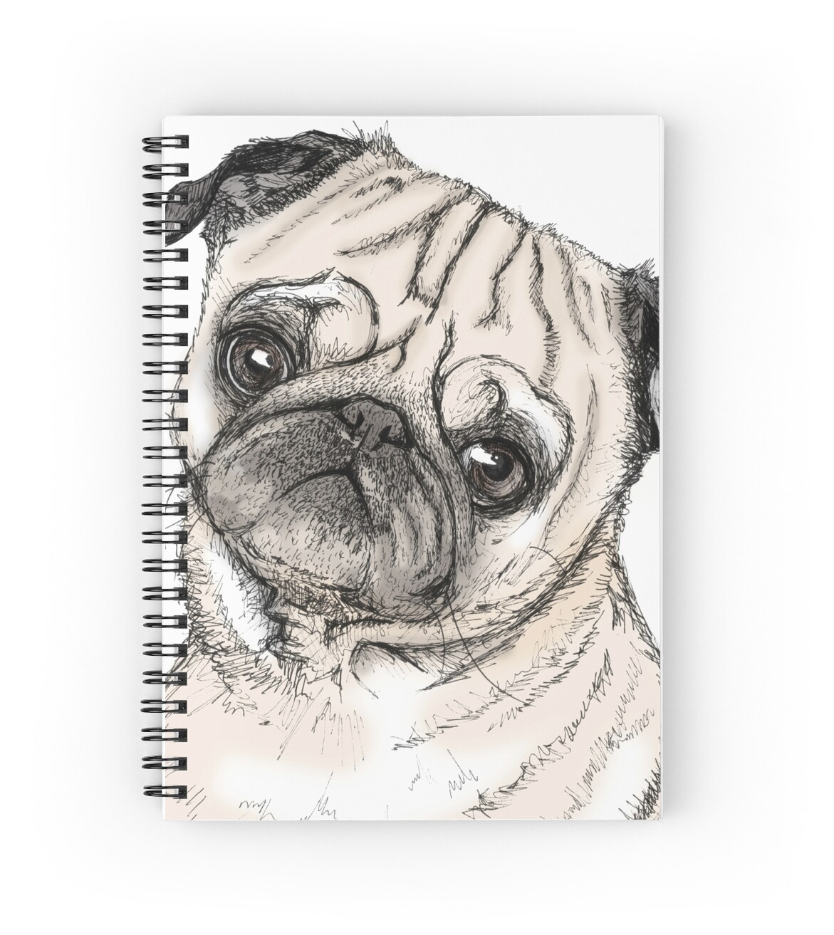Case Ih Home Decor Quot Cute Pug Drawing In Colour Quot Spiral Notebooks By
