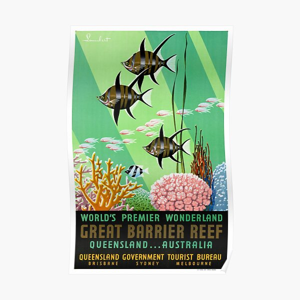 Great Barrier Reef Australia Vintage Travel Poster Poster