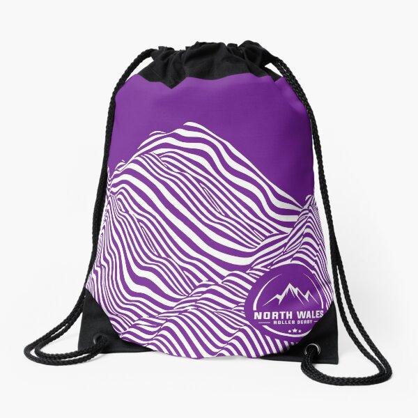 Mountain contours - white Drawstring Bag