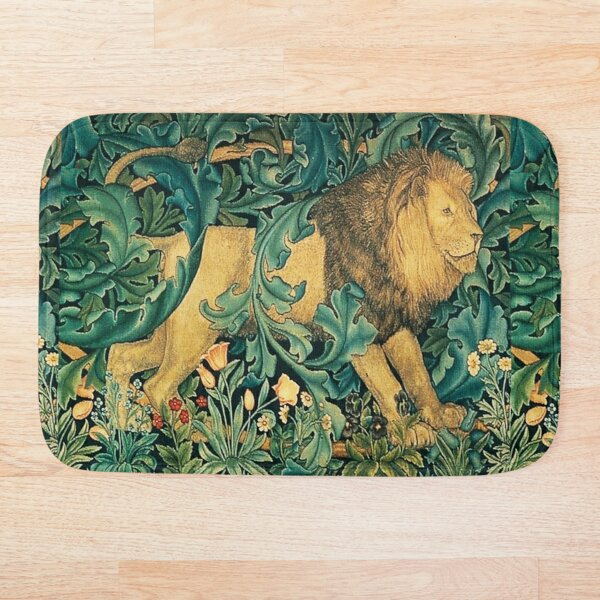 GREENERY ,FOREST ANIMALS, LION Antique Tapestry Bath Mat