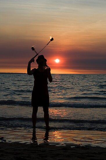 Fire Sticks - Mindil market, Darwin by Jenny Dean