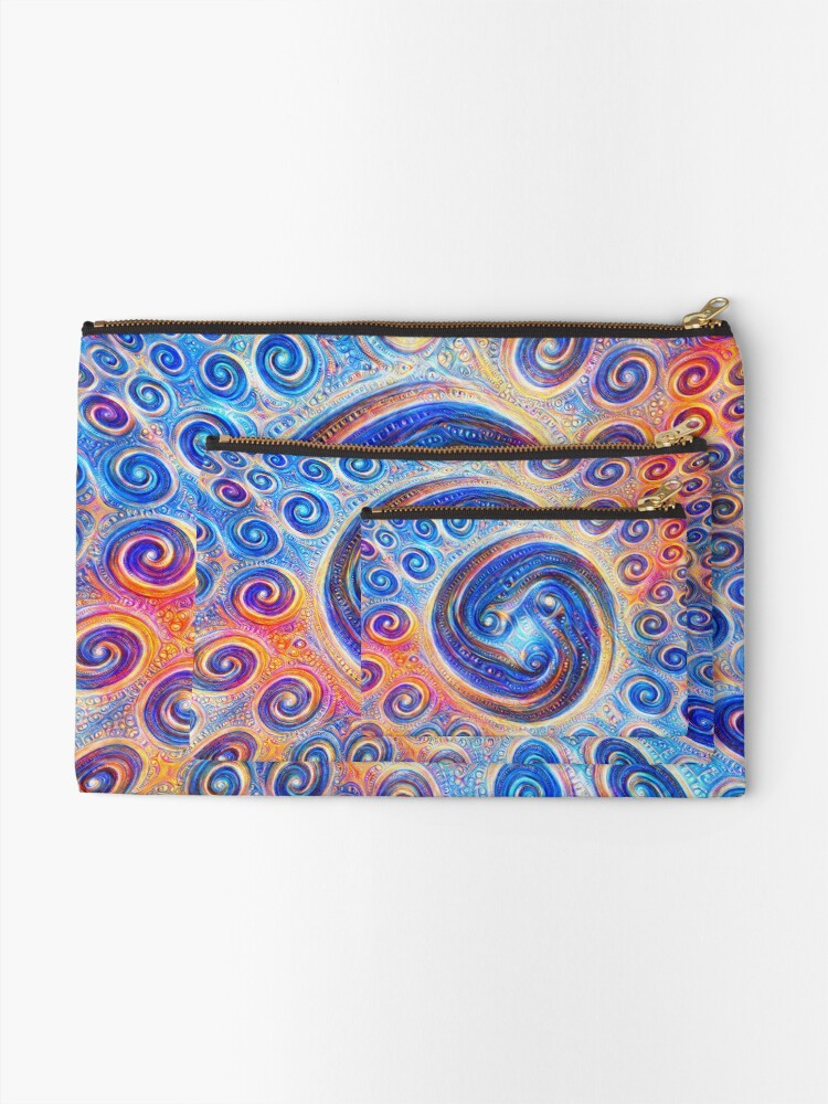 Alternate view of #Deepdreamed Abstraction Zipper Pouch