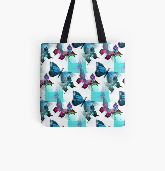Realm of Morpho Blue and Pink Butterflies  All Over Print Tote Bag