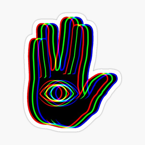 black trippy hamsa Sticker