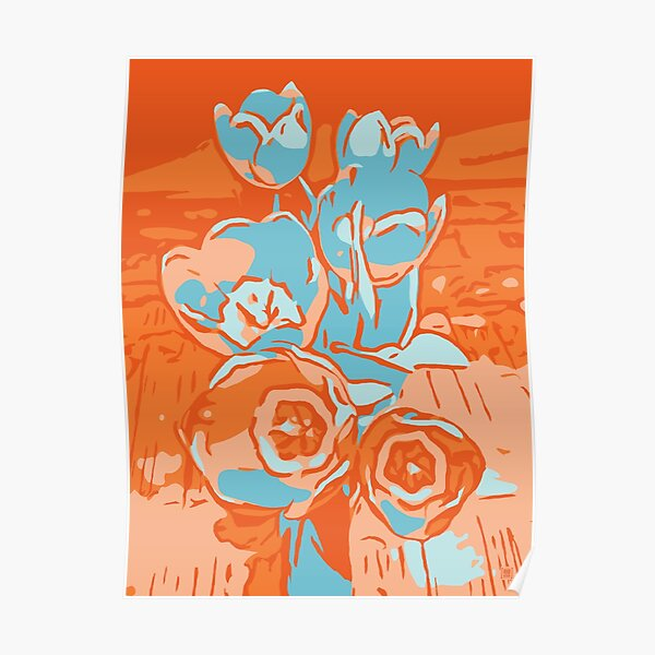 Blumen Tulpen orange-hellblau Poster