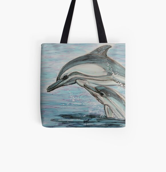 Dolphin Leap Lessons All Over Print Tote Bag