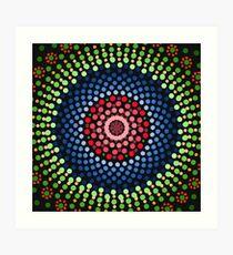 Roses and bluebell circle mandala Art Print