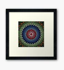 Roses and bluebell circle mandala Framed Print