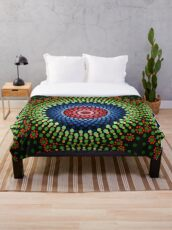 Roses and bluebell circle mandala Throw Blanket