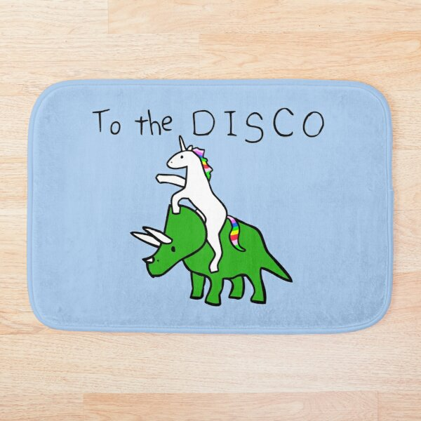To The Disco (Unicorn Riding Triceratops) Bath Mat
