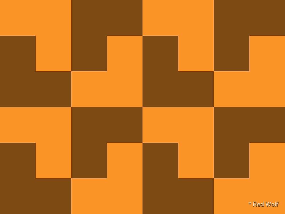 Geometric Pattern: Tetris Ell: Orange Dark by * Red Wolf