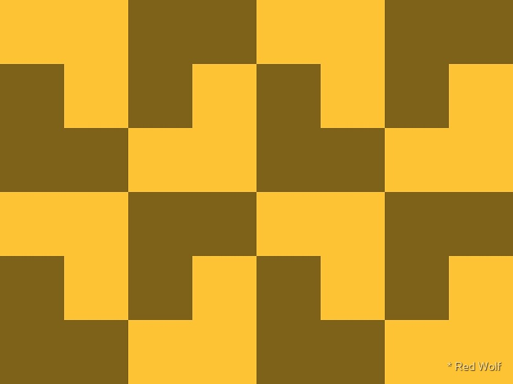 Geometric Pattern: Tetris Ell: Yellow Dark by * Red Wolf