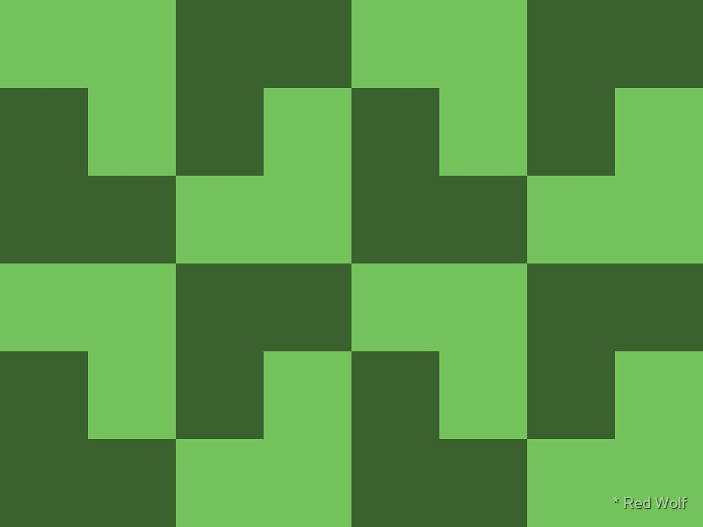 Geometric Pattern: Tetris Ell: Green Dark by * Red Wolf