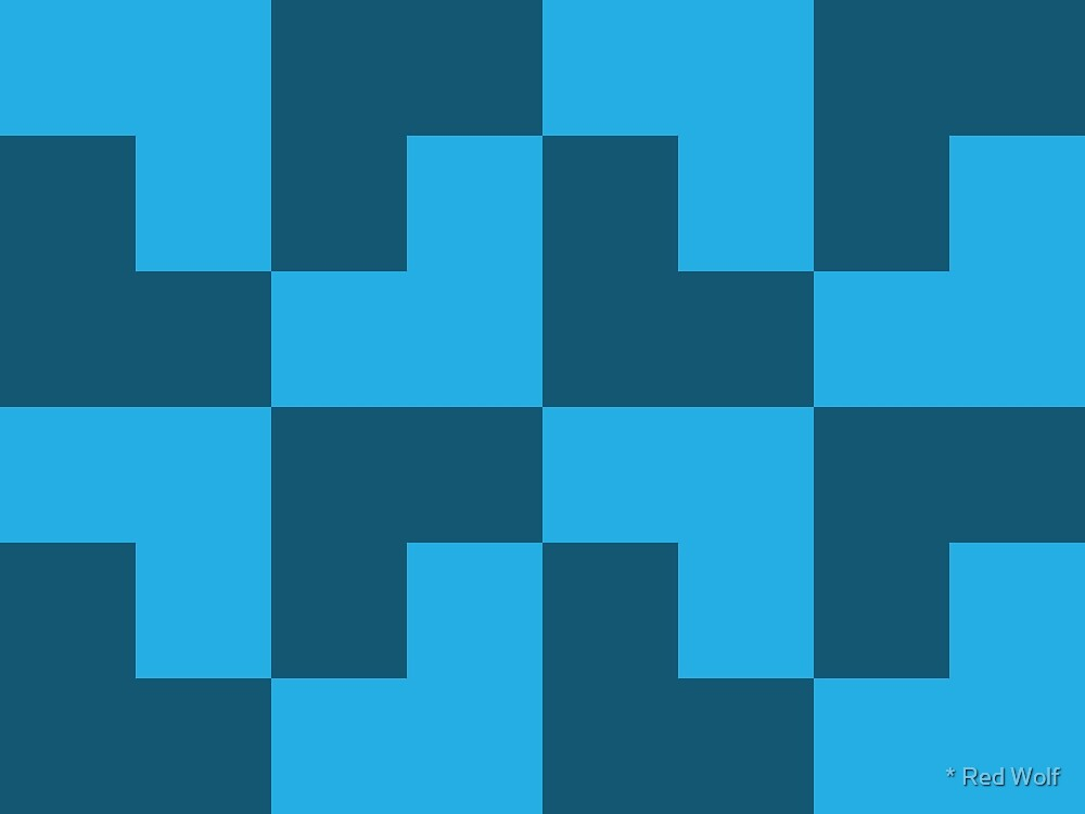Geometric Pattern: Tetris Ell: Blue Dark by * Red Wolf